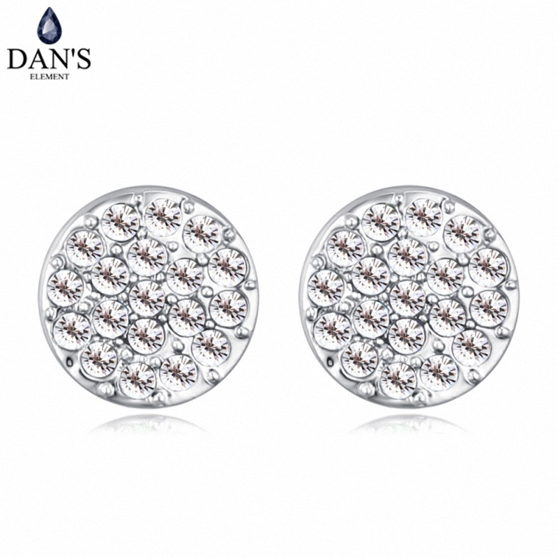 DANS 6 Colors Real Austrian crystals Stud earrings for women Earrings s New Sale Hot Round 128964