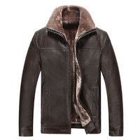 Free delivery 2017 men jacket leather new style fur collar slim fit winter warm genuine