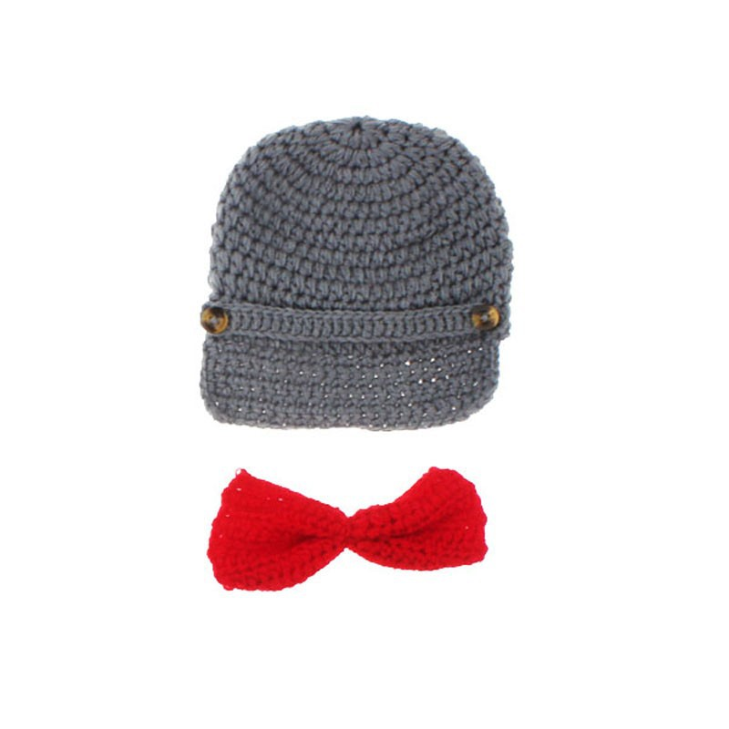 Little Gentleman Outfit Knitted Baby Beanie Hat with Suspenders Bow ...