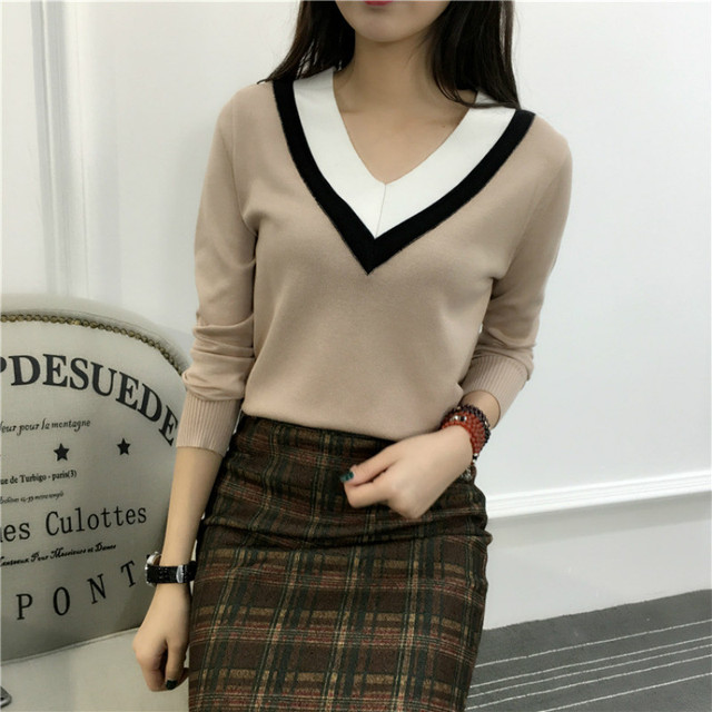 2017 spring winter knitted sweater women V-neck loose large size pullovers feminine pull femme new women's short paragraph