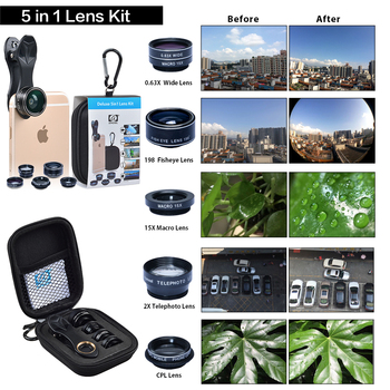 APEXEL HD Camera Lens Kit 5 in 1 for iPhone 6/6s 6/6s Plus SE Samsung Galaxy S7/S7 Edge S6/S6 Edge and Other Android Smart Phone otomatik çadır