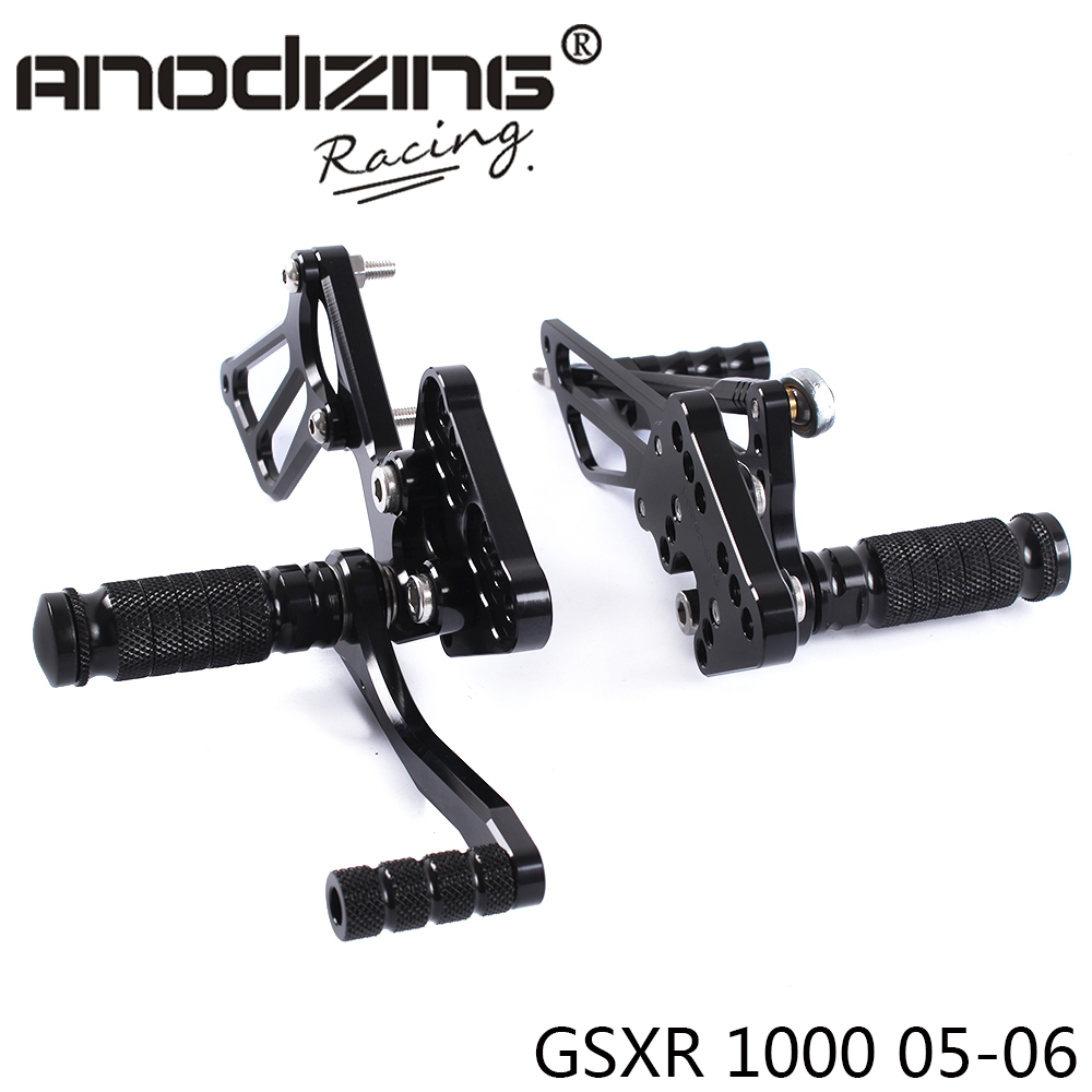 Full CNC Aluminum Motorcycle Adjustable Rearsets Rear Sets Foot Pegs For SUZUKI GSXR1000 2005-2006