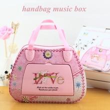 Handbag Alarmwork Mechanism Music box With Ballerina Dream Girl Dance Carousel Caja Musical Wedding Birthday Gift Home Decor
