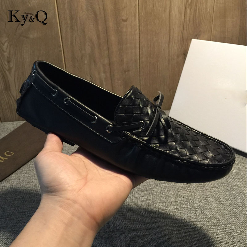 2018 Men Shoes luxury Brand Braid Leather Casual Driving Oxfords Shoes Men Loafers Moccasins Italian Shoes for Men Flats vintage shoes black moccasins men studded luxury brand loafers high quality fashion ballet flats casual oxford shoes for men