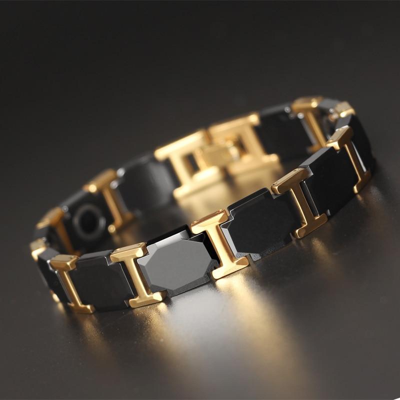 Korean Male Tungsten Gold Tungsten Steel Bracelet High-end Fashion Ceramic Magnet Health Hand Spot