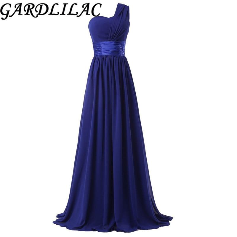 Gardlilac One-Shoulder chiffon Bridesmaid dress Long 2017 Cheap Wedding Party Dress Mint Green blue purple red