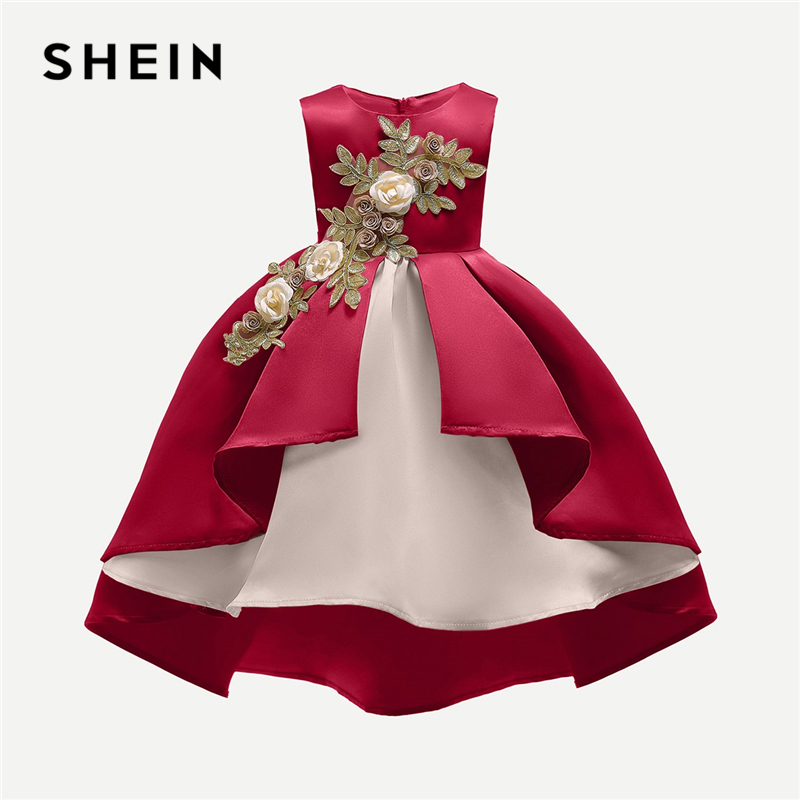 SHEIN Red Appliques Ball Gown Asymmetric Toddler Party Dress Girls Clothing 2019 Sleeveless A Line Vintage Girls Long Dress high split flounce floral long dress