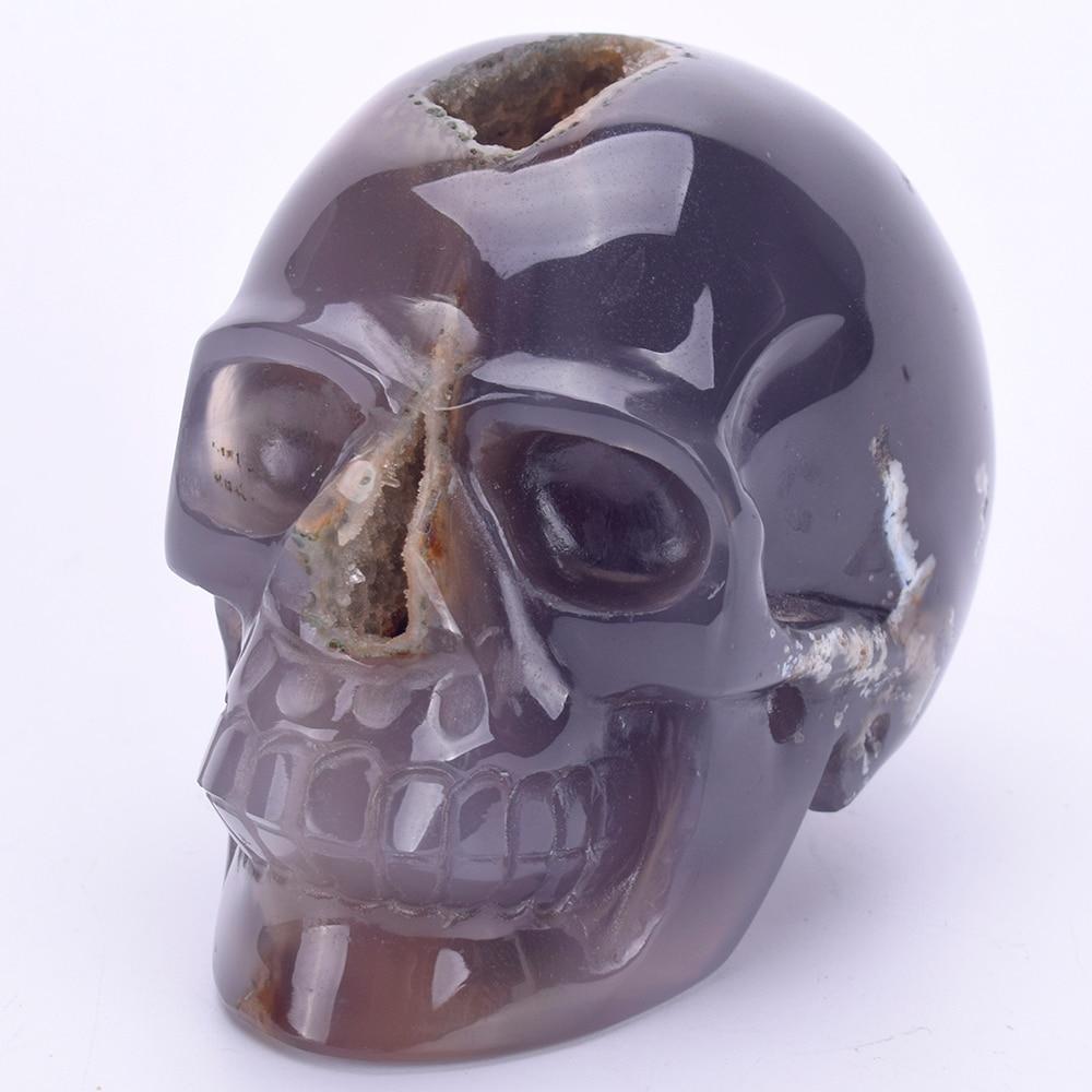 3.6Natural Agate Geode Hand Carved Quartz Crystal Skull Statue Reiki Healing Stone Skull Sculpture Home Decor  Art Collection3.6Natural Agate Geode Hand Carved Quartz Crystal Skull Statue Reiki Healing Stone Skull Sculpture Home Decor  Art Collection
