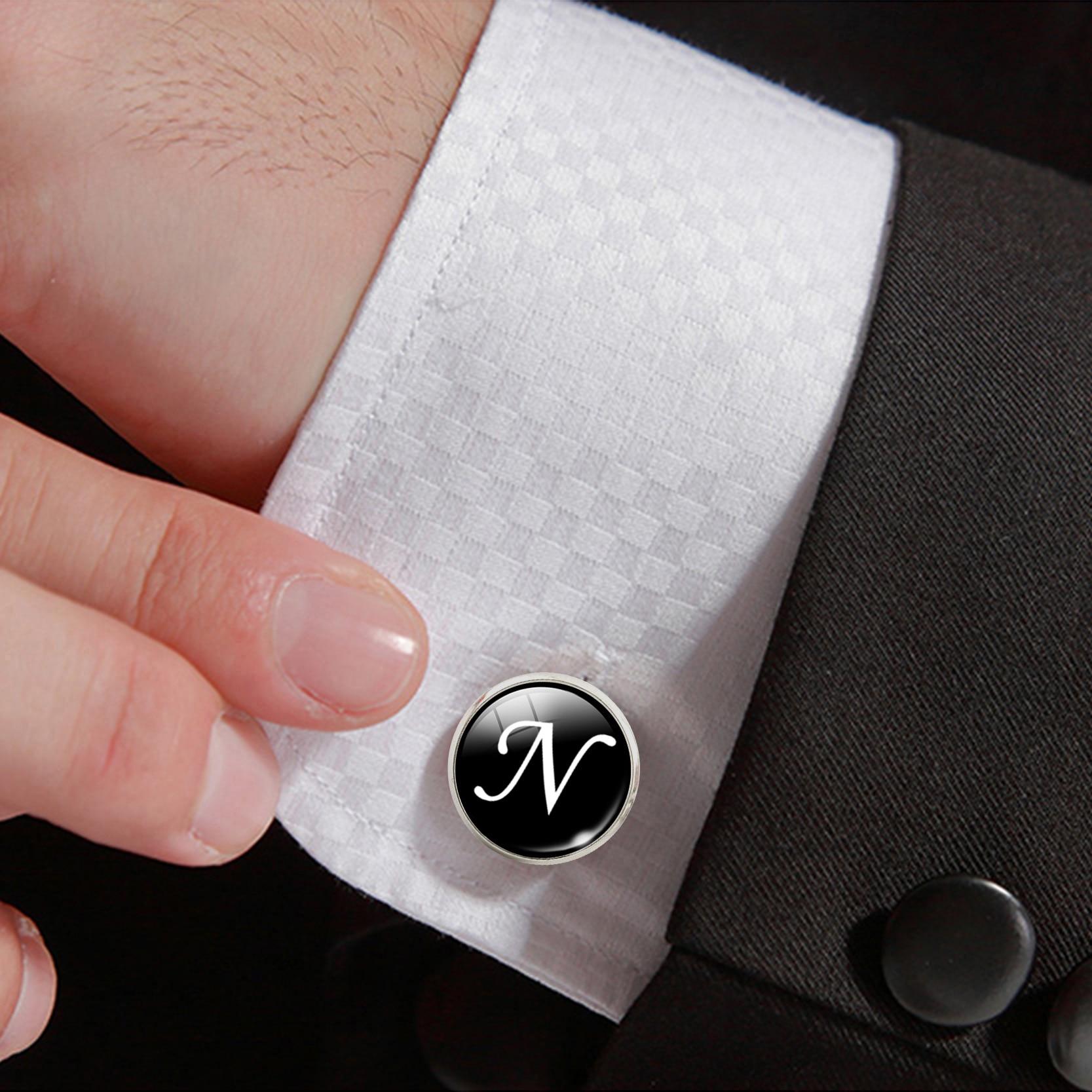 N-Z Initial Alphabet Silver Color Letter Men Cufflinks High Quality Cuff Buttons Wedding Male Business Shirts Cufflink