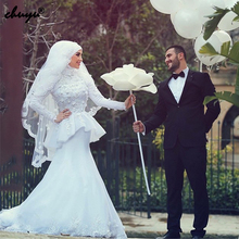 Long Sleeves Vestido De Noiva Muslim Wedding Dresses Mermaid High Collar Scarf Tulle Lace Boho Dubai Arabic Wedding Gown Bridal