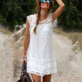 Casual Dress Мини Рукавов Чешские White Lace Dress Boho Одежда Свободные Лоскутное Dress Плюс Размер Женская Одежда 18z
