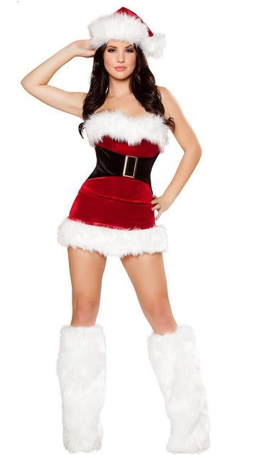 40d06b48d5f ML8032 Sexy Christmas Costume Red Velvet Fur Trim Stretch Mrs Claus Santa  Dress