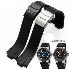 2016 24mm (11mm lug) noir lug fin caoutchouc Waterpfoof Oris de bracelet bracelet pour hommes montres bande avec fermoir en acier inoxydable