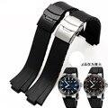 2016 24mm (11mm lug) negro lug extremo de goma Waterpfoof Oris relojes de pulsera correa de reloj para los hombres banda con cierre de acero inoxidable