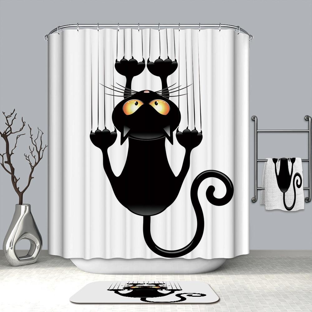 Image 5 - VOZRO Waterproof 3d Lovelycat Decorative Bathroom Shower Curtain Bape Cortina Rideau De Douche Wedding Decoration Douchegordijn-in Shower Curtains from Home & Garden