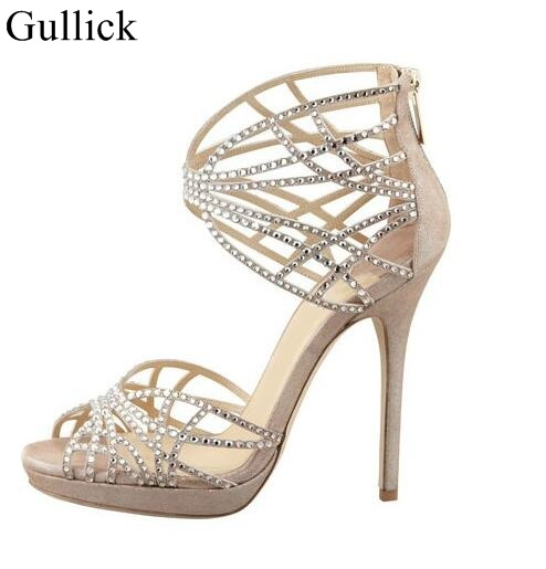 Gullick Crystal Embellished Strappy Sandals Beige Suede Cut-out Cage Shoes For Women Back Zipper High Heel Summer Dress Shoes цена