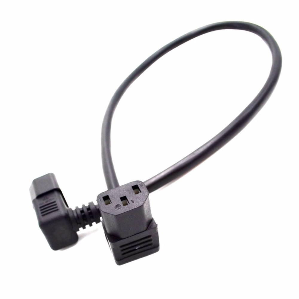 IEC C14 Male to C13 Female Cord, C13 to C14 Dual Down Angle Right Angle Power Cable About 0.6M 1 PCS iec 320 c13 female to c14 male with10a on off switch power adapter cable fr pdu ups c14 c13 extension power cord 10 pcs