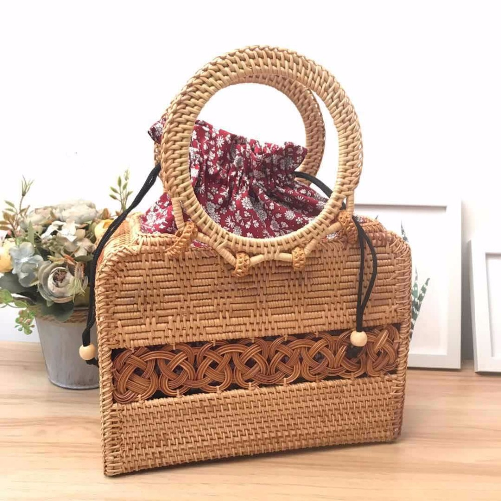 2018 Summer Bohemian Handbags Vintage Handmade Crossbody leather shoulder Straw Bags Circle Rattan bag Women Small Beach Bag2018 Summer Bohemian Handbags Vintage Handmade Crossbody leather shoulder Straw Bags Circle Rattan bag Women Small Beach Bag