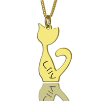 Wholesale Golden Tiny Cat Shape Necklace Sterling Silver Engraved Name Pendent Personalized Fashion Jewelry Box Chain