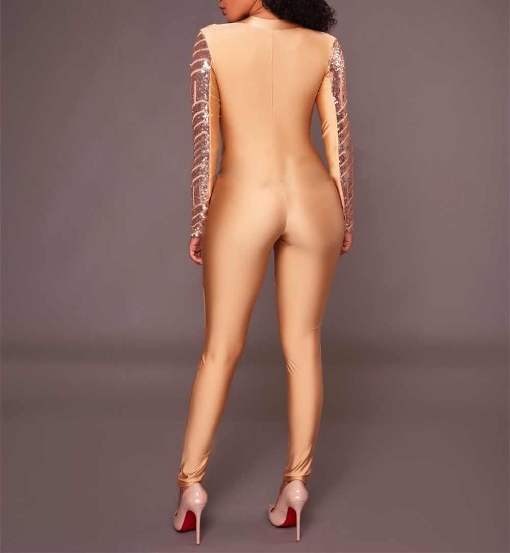 Блеск черное золото блестками сексуальный женский комбинезон для ночного клуба комбидресс v-образным вырезом облегающие костюмы певица вечерние бар этап одежда для выступлений