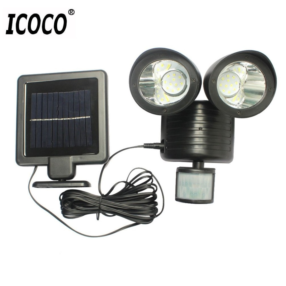 ICOCO 22LED Dual Security Detector Solar Spot Light Motion Sensor Floodlight Outdoor Wall Light for Garden Landscape LED Outdoor Wall Lamps     - title=