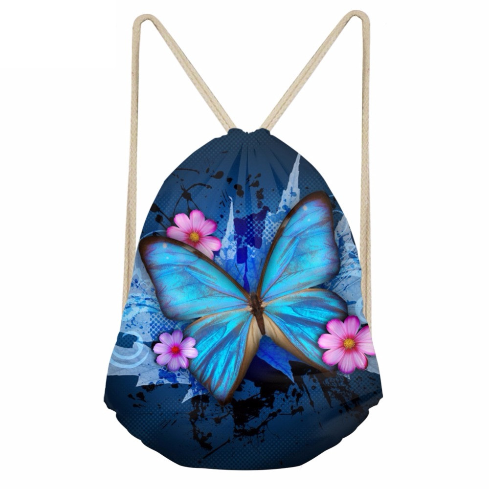 Cute 3D Animal Butterfly Print Women Drawstrings Bags Fashion Softback Backpacks Storage Beach Bags For Teens GirlsSumka