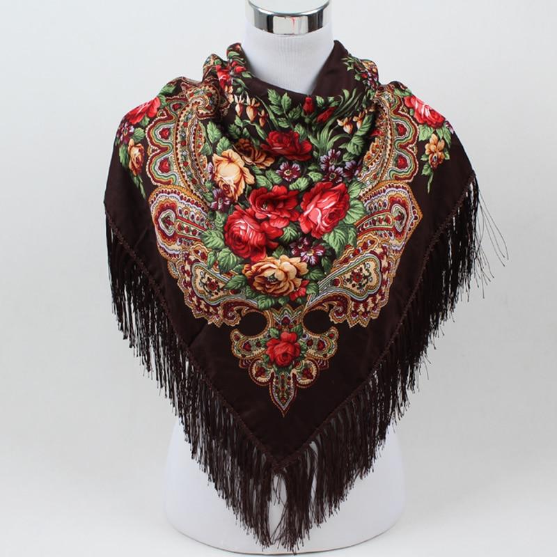 Sıcak satış yeni moda kadın Eşarp kare atkılar uzun püskül - Elbise aksesuarları - Fotoğraf 4