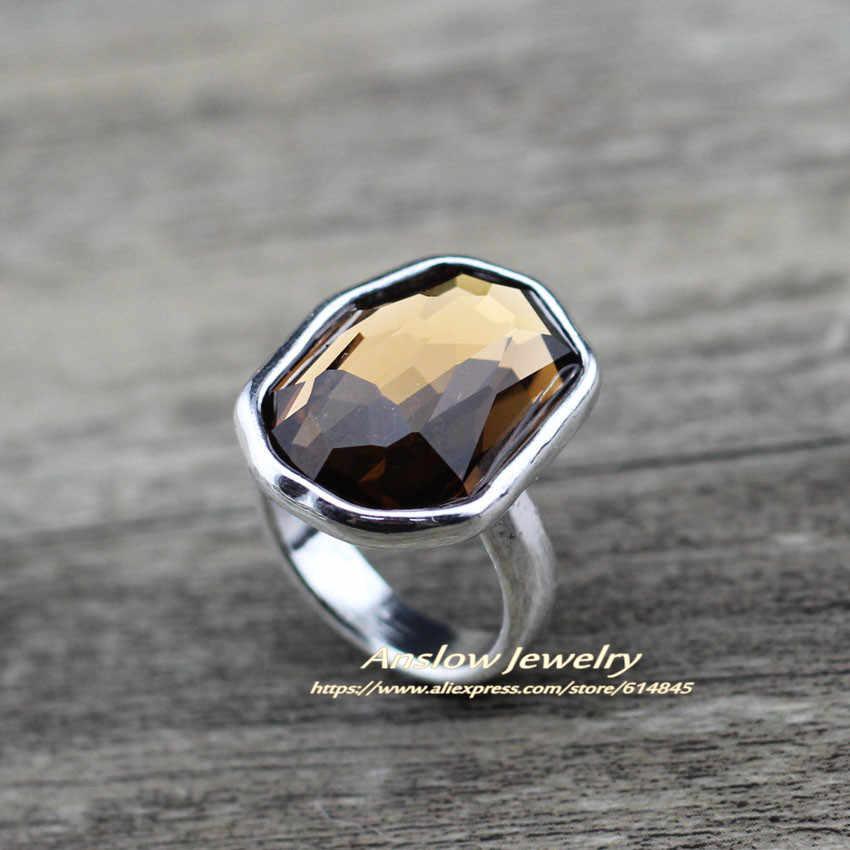 Anslow טרנדי מותג תכשיטים כסף זהב צבע גדול סדיר קריסטל אצבע טבעת עבור נשים חתונת אירוסין LOW0006AR