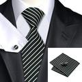 Mens Ties 2016 Stripe White Black Neck Tie Hanky Cufflinks Set Silk Jacquard Ties For Men Formal Business Wedding Party C-394