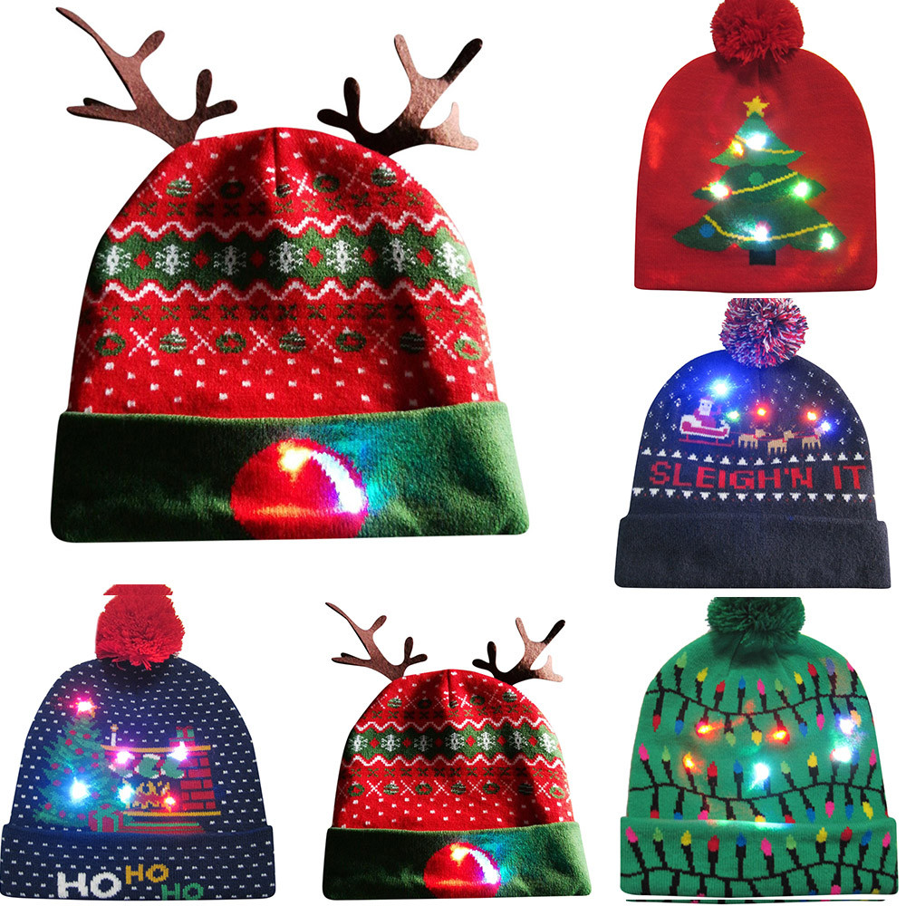 Novelty Led Light-up Knitted Beanies Hat Boys Ugly Sweater Holiday Xmas Christmas Luminescent Lantern Festive Cap Fiber Cap 12.5 Promote The Production Of Body Fluid And Saliva
