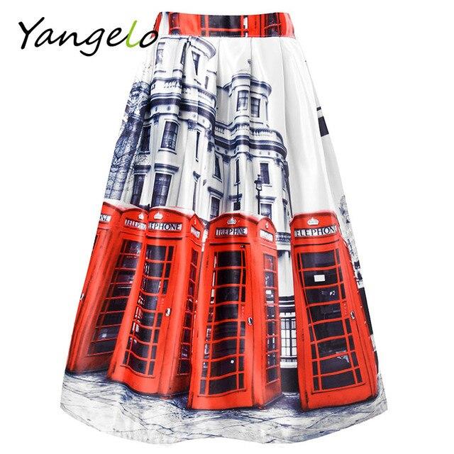 High Waist Ladies street 2016 New Fashion Women Summer Midi Skirts London red bus skirt Printing skirts Free Shipping