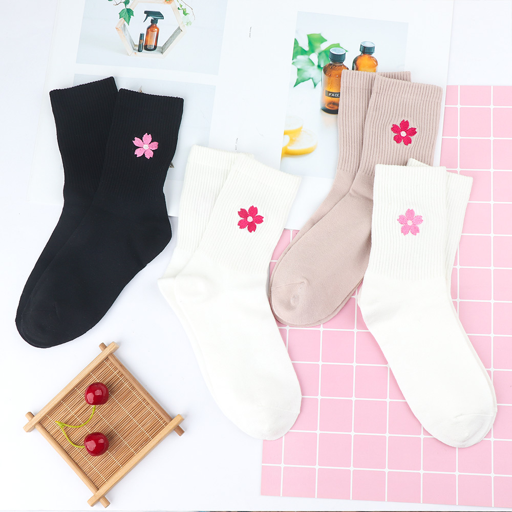 Fashion Multicolor Sock Cute Fruit Print Cherry Blossom Retro Embroidery Women Girl Cotton Socks Winter Autumn Warm Socks