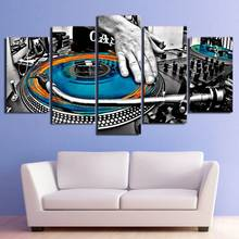 Canvas Art Print HD Poster Wall Modular Picture Gramophone Music DJ Fashion 5 Set Spray Painting Vintage Bedroom Home Decoration(China)