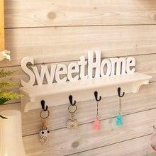 "Vogue ""Sweet Home"" Shelves Wall Rack Wood Home Holder Storage Hanger Decors cabide organizador paracasa porte manteau hookcat"