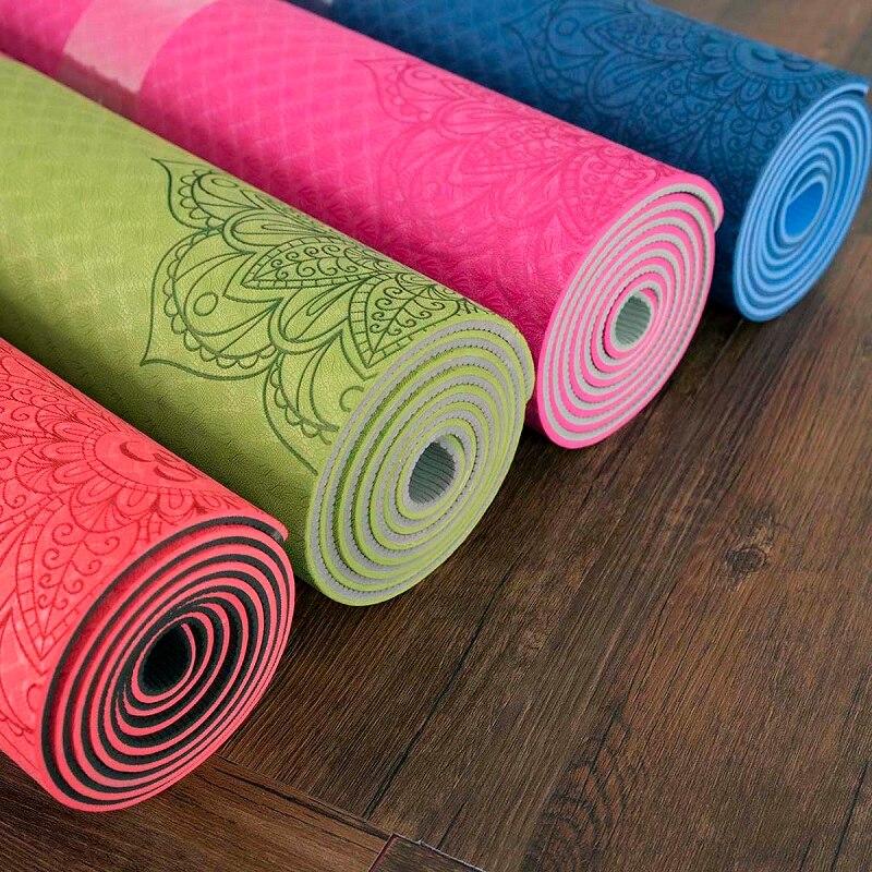 Dature TPE tapis de Yoga 6mm tapis de Fitness Fitness Yoga tapis de Sport tapis de gymnastique avec sac de Yoga coussin d'équilibre Yogamat 183*61 cm * 6mm - 2