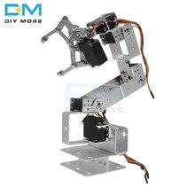 Controlador rotação 6dof de alumínio, garra de braço robô mecânico robótico para arduino prata