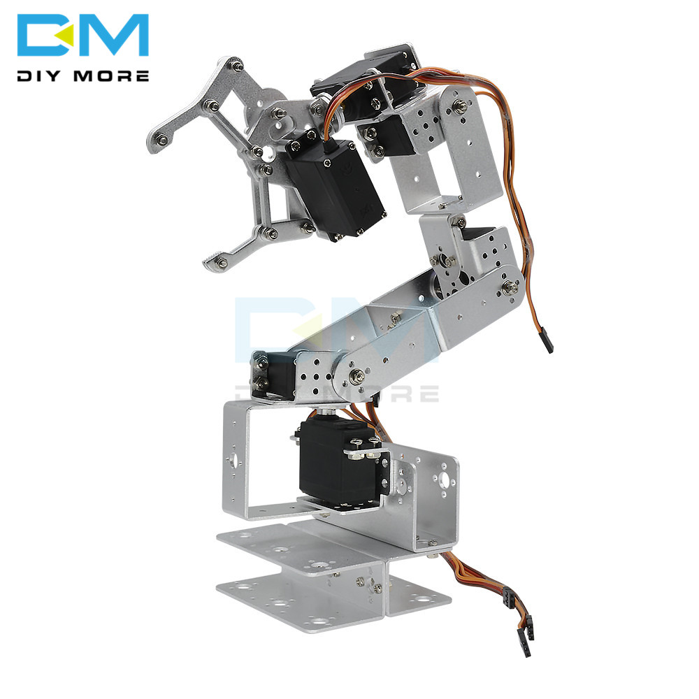 Manipulator ROT3U 6DOF Aluminium Robot Arm Mechanical Robotic Clamp Claw For Arduino Silver