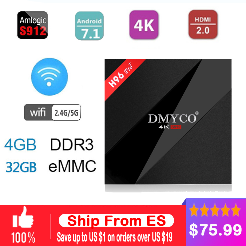 H96Pro H96 Pro+ Amlogic s912 Android Tv Box 7.1 RAM 3GB ROM 32GB 1000M LAN Bluetooth 4.1 4K HDMI Smart Media Player h96 pro plus alfawise h96 pro tv box 3gb ram 64gb rom