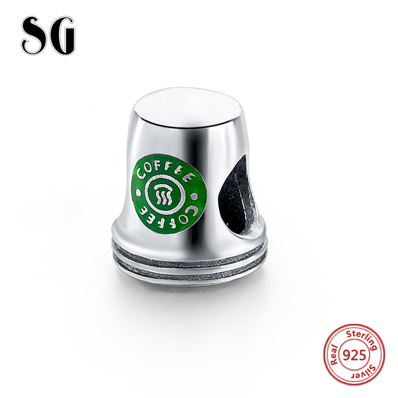 Fit Authentic pandora charms silver 925 original Antique Green Coffee Cup Bracelet collect Pendant Bead Jewelry Gifts for women