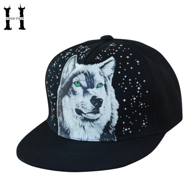 HATGUD TYLZT New Fluorescent Wolf Pattern Sign Hip-Hop Adult Baseball Hats Outdoor Sunshade Hats Fashionable Man Snapback Cap