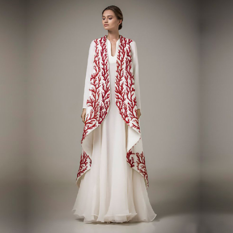Arabia Muslim Evening Dress 2 Pieces Long Sleeve Coat Red ...