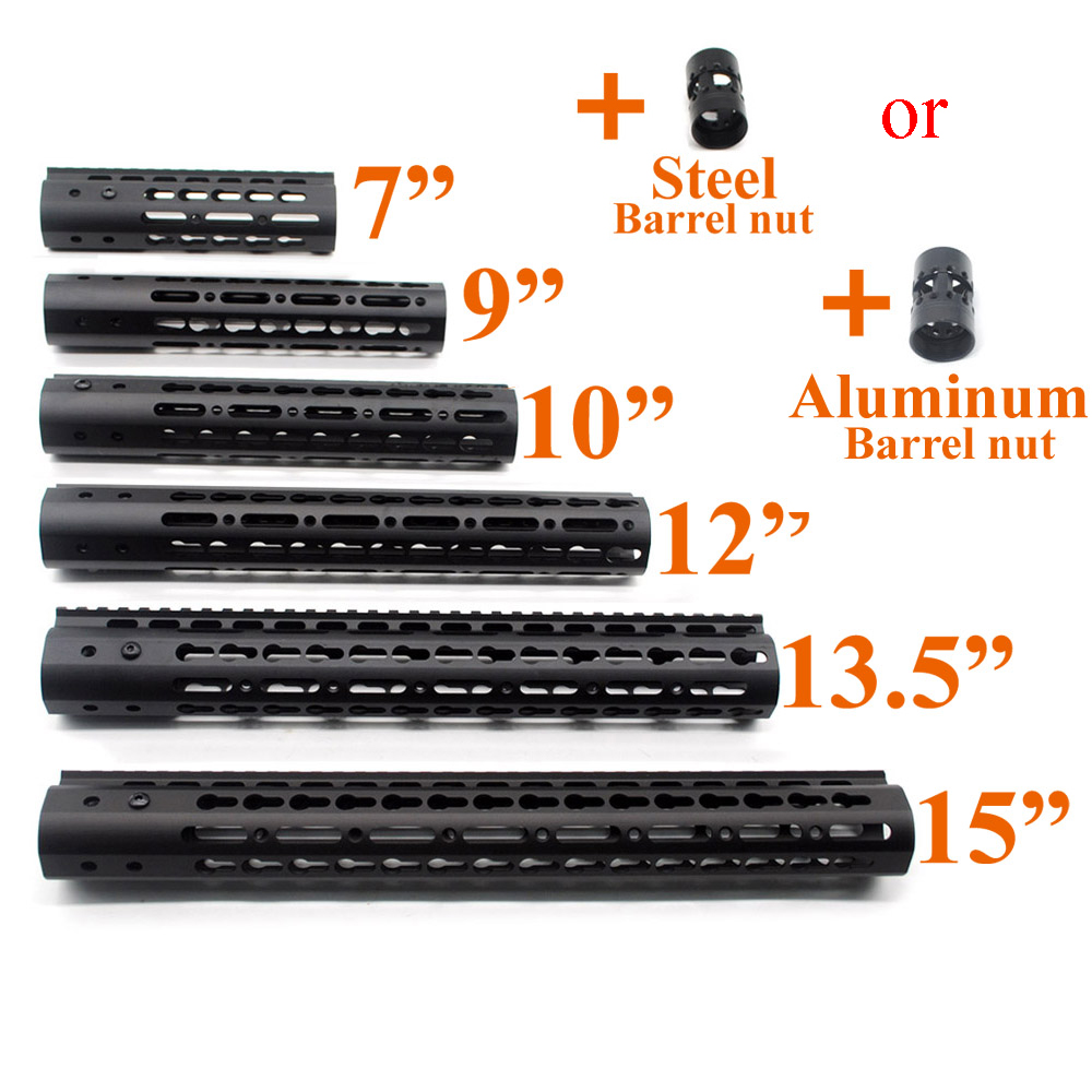 """Black 7"""" 9"""" 10"""" 12"""" 13.5"""" 15"""" inch AR-15 Free Float Keymod Handguard Picatinny Rail for Hunting Tactical Scope Mount System(China)"""