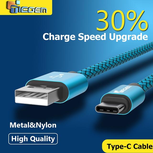 Tiegem Original USB Type C Cable Nylon Line and Metal Plug Type-C USB for Xiaomi 4C / Leshi / Nokia N1 / HTC 10