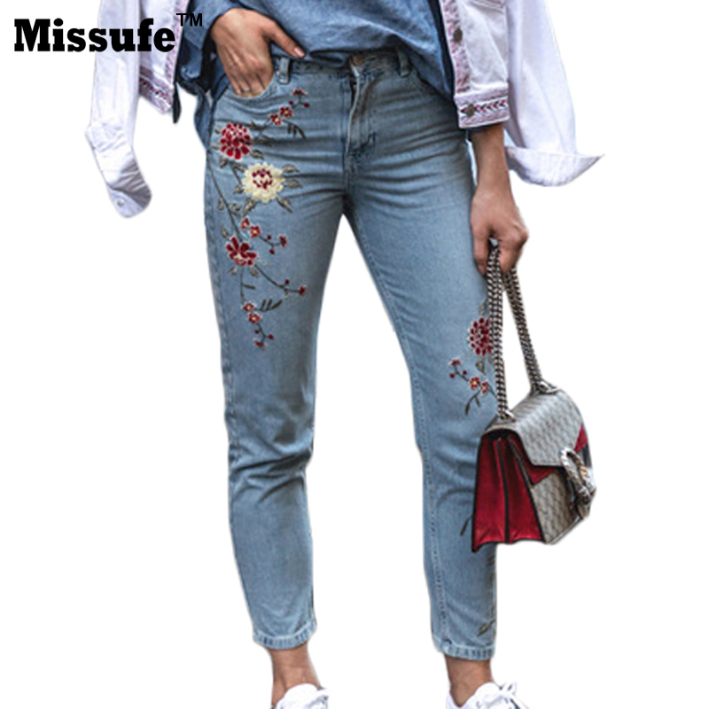 Missufe Flower Embroidery Jeans Women Blue High Waist Casual Slim Denim Pants 2017 Fashion Streetwear Summer Pockets Jeans bazaleas flower embroidered mom jeans female blue casual pants capris spring pockets jeans bottom casual pant