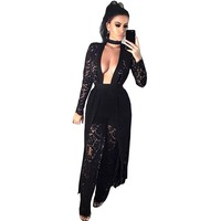 Fall 2017 Women Black Full Lace Clothing Set Sexy Two Piece Long Sleeve Front Open Top