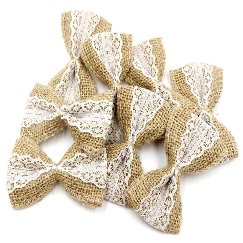 10pcs Vintage Natural Jute Burlap Hessian DIY Ribbons Bowknot Burlap Scrapbooking Lace Ribbon Jute Craft Wedding Decoration