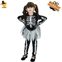 DSPLAY New Style Skeleton Girl Costume Kid's Darkness Horror Zombie Halloween Fancy Dress Costumes