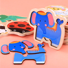 Logwood Baby Toy Wooden Puzzle 3D Puzzle Jigsaw Board Animal Vehicle DIY Puzzle Monterssori Educational Toy for Children