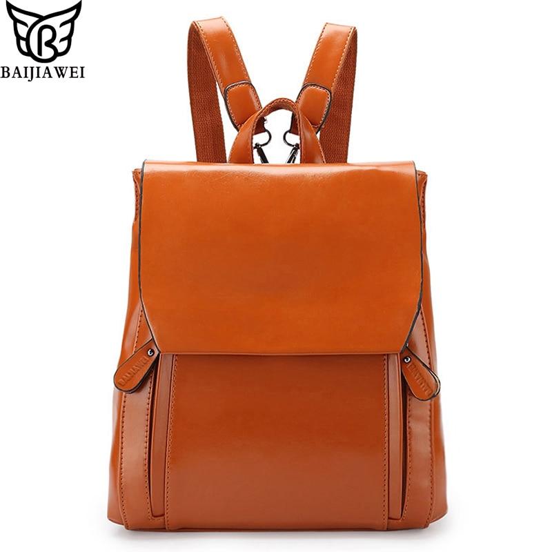 53115e008bac Baijiawei Лидер продаж 5 цветов кожаный рюкзак для Для женщин смешанные  Oxhide Сумки Mochila Escolar кожа коровы модный бренд Рюкзаки