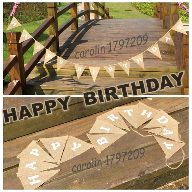 428 5 De Réduction1 Set 13 Drapeaux Joyeux Anniversaire Vintage Jute Toile De Jute Hesse Banderoles Bannière Fête Danniversaire